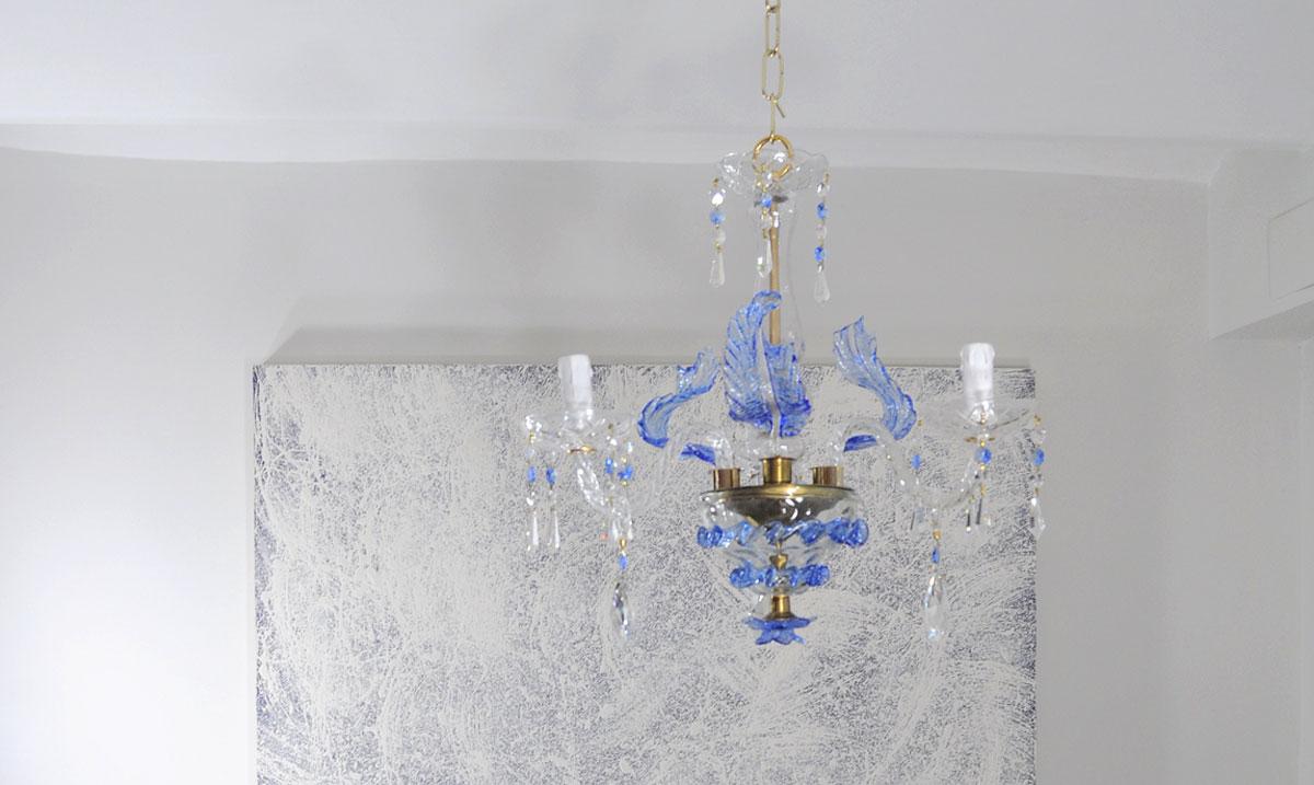 Lampara de techo cristal veneciano color azul - Lamparas cristal antiguas ...