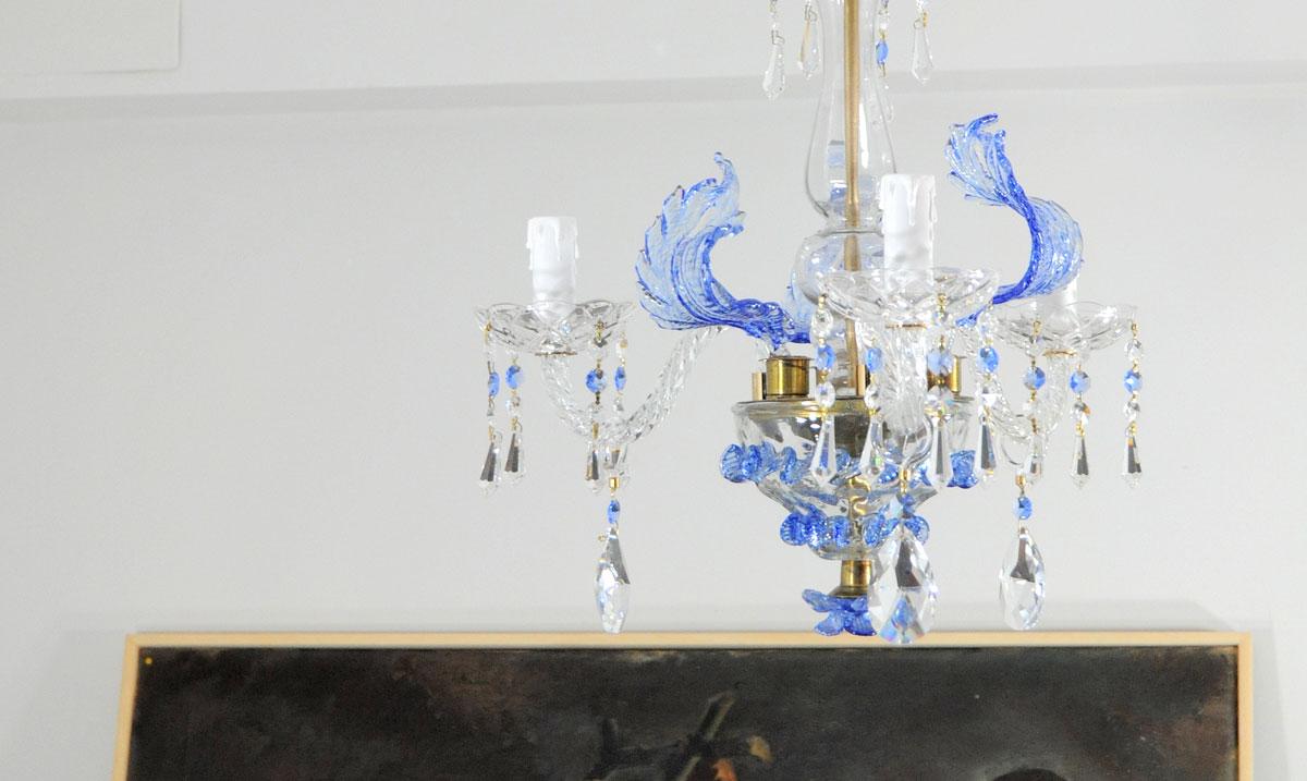 Lampara de techo cristal veneciano color azul - Lamparas de cristal antiguas ...