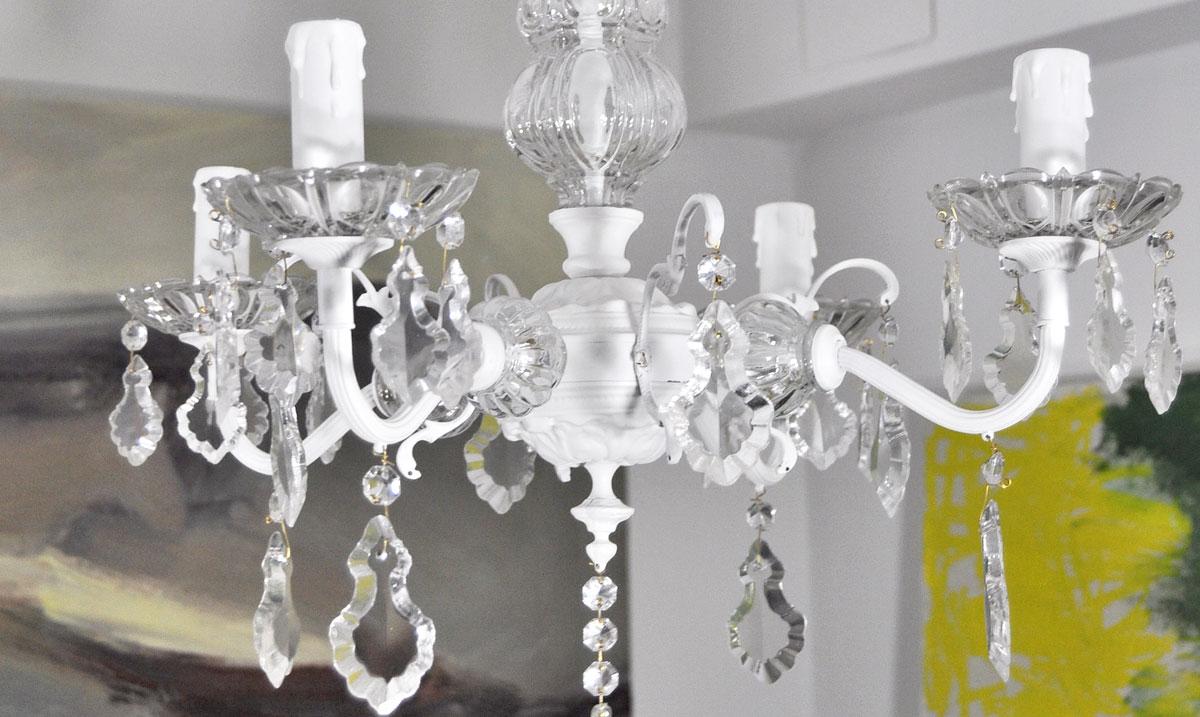 Lampara de techo ara a de bronce y cristal de 4 brazos - Lamparas de arana antiguas ...
