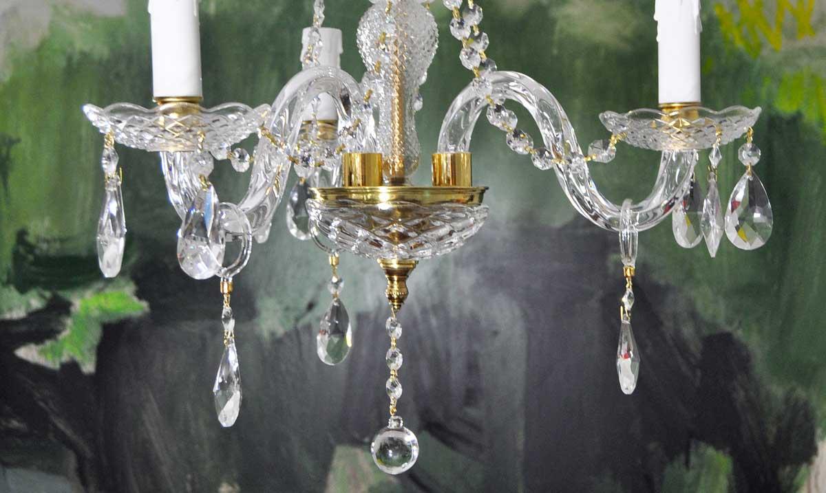 Con Lámpara Lamparas Cristal 3 Araña Brazos De Guirnaldas Antiguas Nmn8v0w