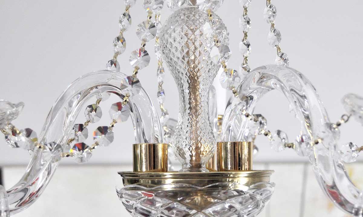 L mpara ara a cristal de 3 brazos con guirnaldas - Lamparas de cristal antiguas ...
