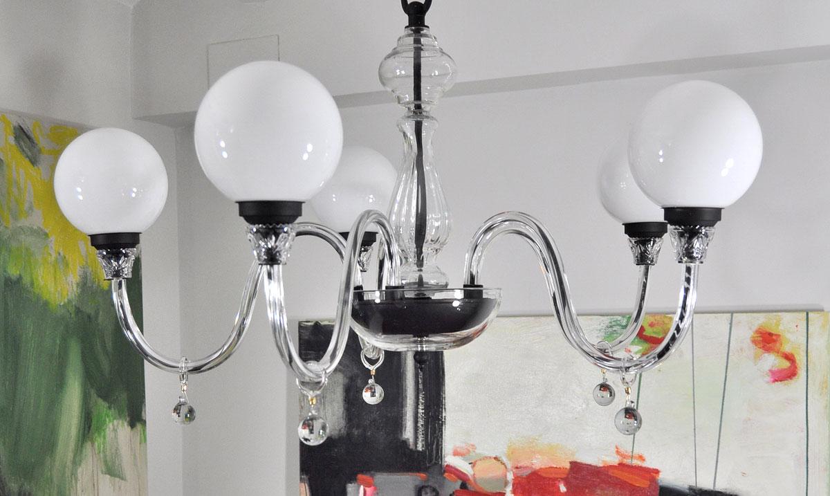 L mpara ara a cristal con 5 bolas opal lamparas antiguas - Lamparas de arana antiguas ...