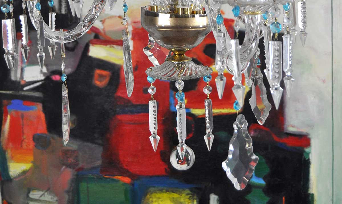 L mpara ara a cristal con oct gonos azules - Lamparas de arana antiguas ...
