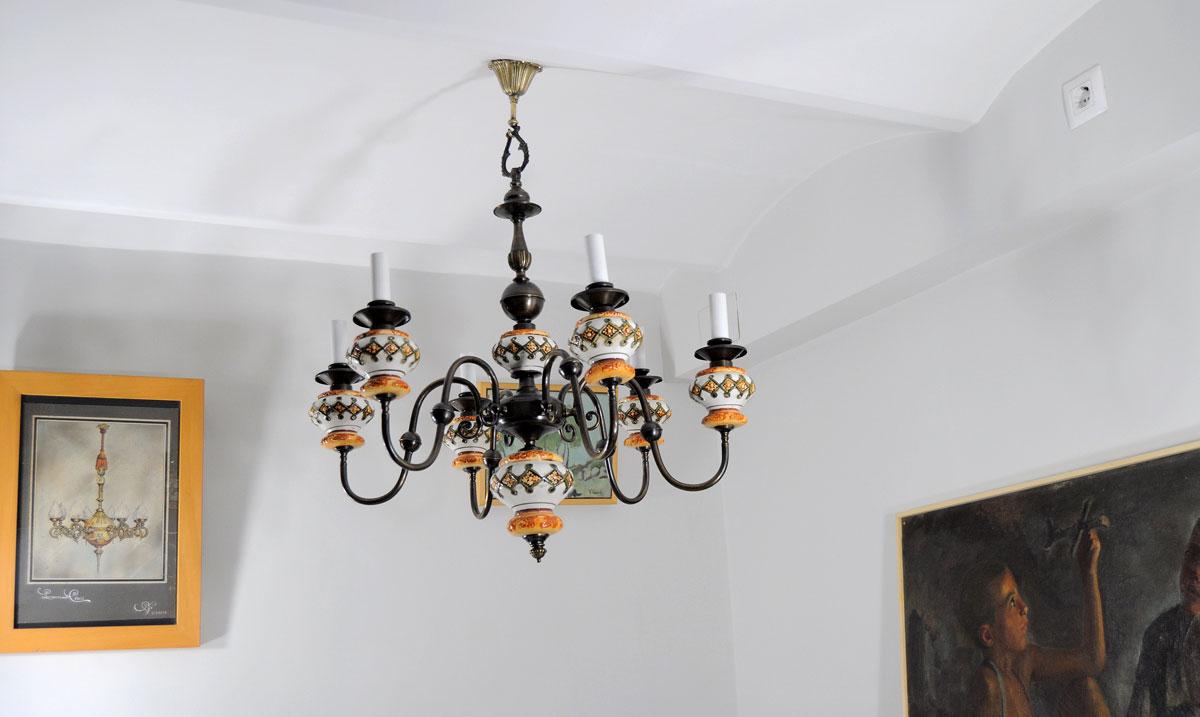 Lampara de techo holandesa con ceramica restauraci n de - Lamparas antiguas de techo ...